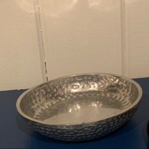 Vintage hammered silver jewelry dish